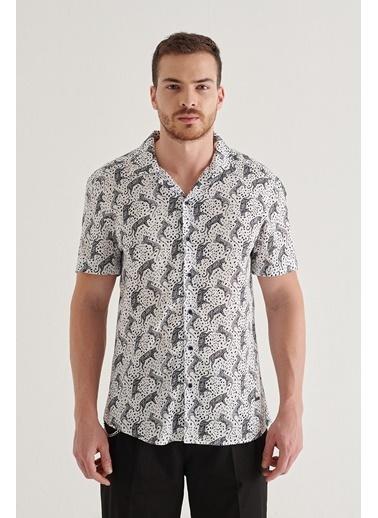 Avva Erkek Baskılı Apaş Yaka Relaxed Fit Kısa Kol Gömlek A11Y2129 Siyah